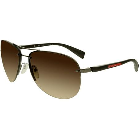 Prada Men's Gradient Linea Rossa PS56MS-5AV6S1-65 Brown Aviator Sunglasses Crystal Brown Gradient Sunglasses