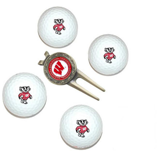 Wisconsin Badgers Pack of 4 Golf Balls and Divet Tool Gift Set