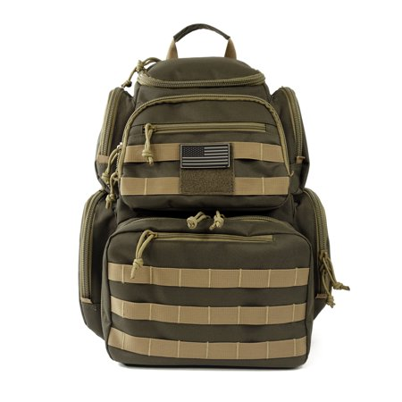 Range Backpack Tactical Shooting Backpacks Military Gear Rucksack Carries 5 Multi-Functional Ammo Pouches & Magazine Pockets for Handguns Thick Heavy Duty Quality Bag