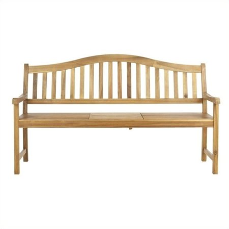 Hawthorne Collection Steel and Acacia Wood Bench in Teak Color - image 1 de 1