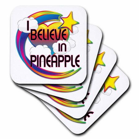 3dRose I Believe In Pineapple Cute Believer Design, Soft Coasters, set of 4