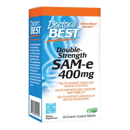 Doctor's Best SAM-e 400 mg, Vegan, Gluten Free, Soy Free, Mood and Joint Support, 30 Enteric Coated