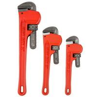 Stalwart 3-Piece Heavy Duty Pipe Wrench Set with Storage Pouch, W550055