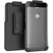Nexus 6P Belt Case, Encased (SlimShield Edition) Secure Fit Holster Clip + Easy-Grip Slider Shell (Metallic Silver)