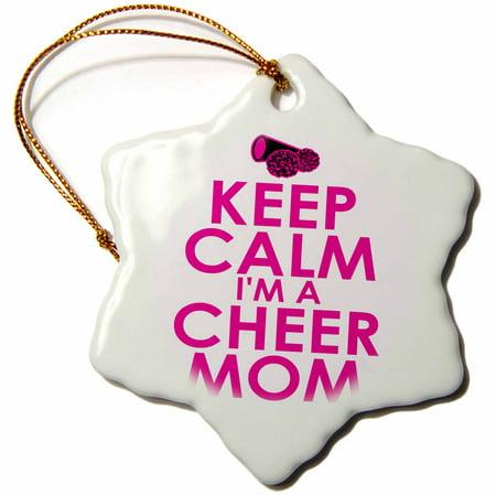 3dRose Keep calm Im a cheer mom. Pink., Snowflake Ornament, Porcelain, 3-inch Good Cheer Ornament