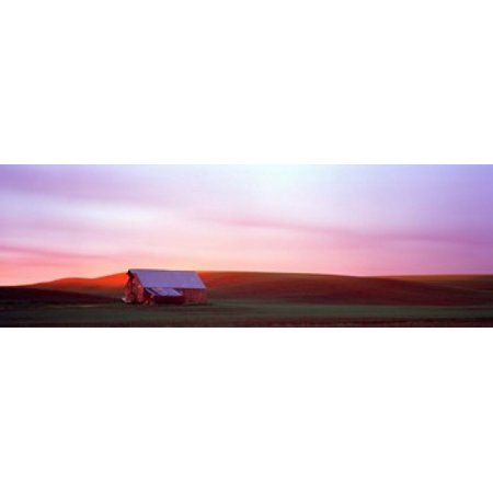 Barn in a field at sunset Palouse Whitman County Washington State USA Canvas Art - Panoramic Images (18 x 6)