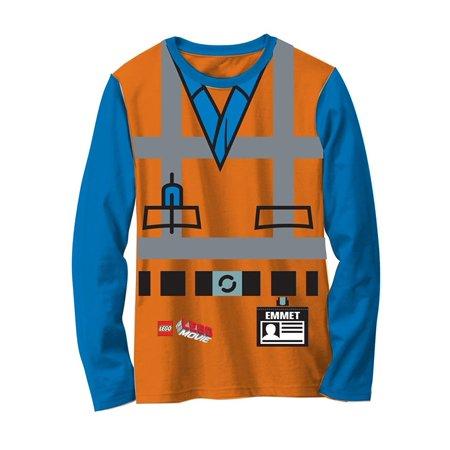 Lego Movie Emmet Orange Boys LONG SLEEVE Costume - Wet T Shirt Contest Costume