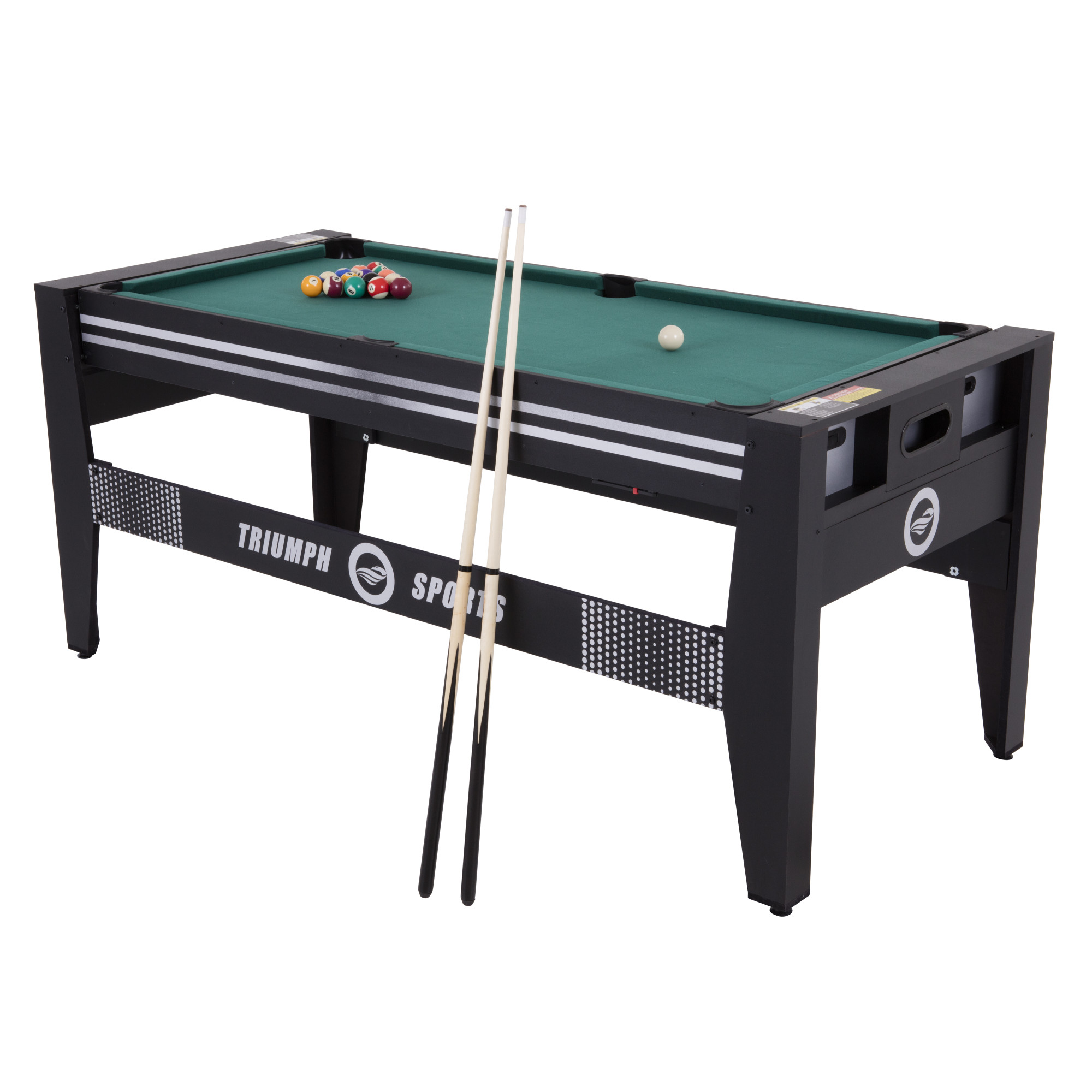 "Triumph 72"" 4 in 1 Multi-Game Swivel Table with Air-Powered Hockey, Table Tennis, Billiards, and Launch Football"