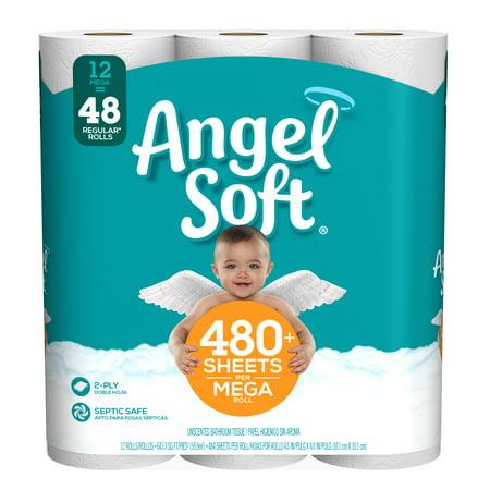 Angel Soft Toilet Paper  12 Mega Rolls