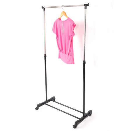 Ktaxon Portable Rolling Clothes Rack Single Hanging Garment Bar Heavy Hanger Adjustable