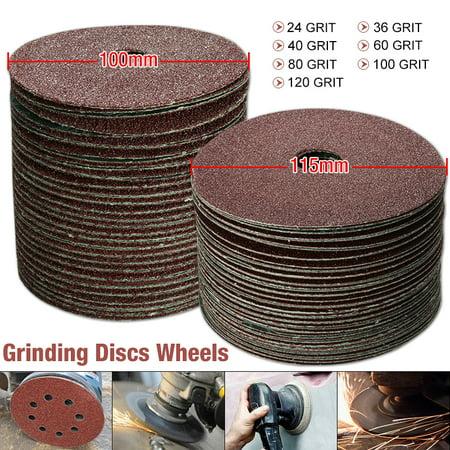 50 Pack 100mm Sanding Discs Fibre Sander Grinding Sheets Sandpaper Whe