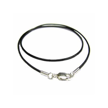 Black Leather 1mm Choker Necklace Sterling Silver Lobster Clasp, 20 - Choker Clasp