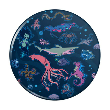 Creepy Deep Sea Creatures Pattern with Mermaid Squid and Shark Kitchen Refrigerator Locker Button Magnet Pattern Shank Buttons