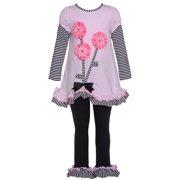 Pink Black Flower Stripe Legging Outfit Baby Girl 12M-4T