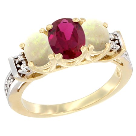 14K Yellow Gold Natural High Quality Ruby & Opal Ring 3-Stone Oval Diamond Accent, size 5