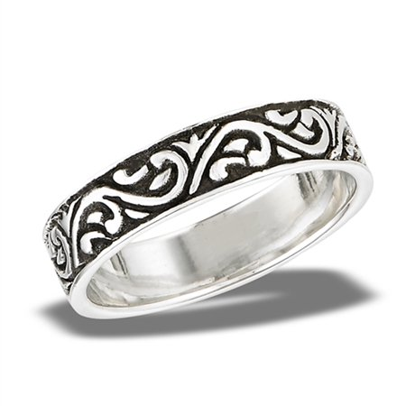 Oxidized Celtic Swirl Etched Wedding Ring .925 Sterling Silver Band Size 10