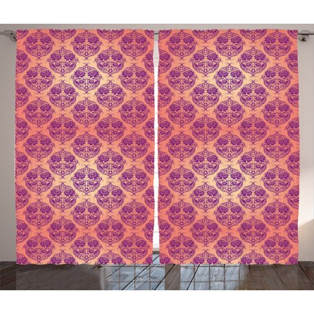 Damask Curtains 2 Panels Set Flower Featured Classic Themed Pattern Original Royal French Style