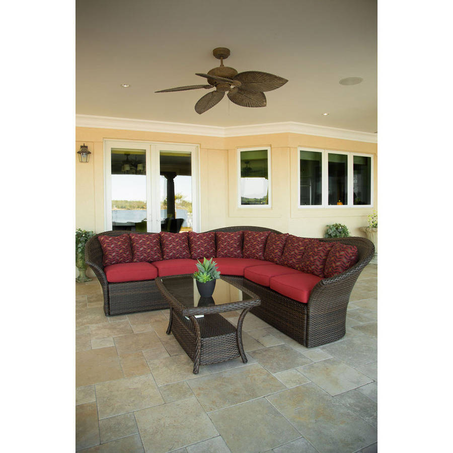 Hanover Outdoor Furniture Versa 4-Piece Sectional Seating Set, Chocolate Brown/Red