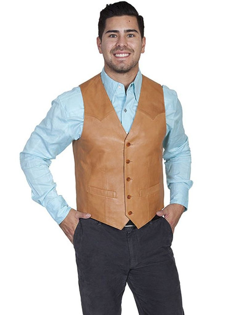 Scully Western Vest Mens Lambskin Leather Button Ranch Tan 503-171