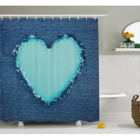 Navy And Teal Shower Curtain Ripped Denim Jean Fabric Image Heart Shape Love Romance Valentines