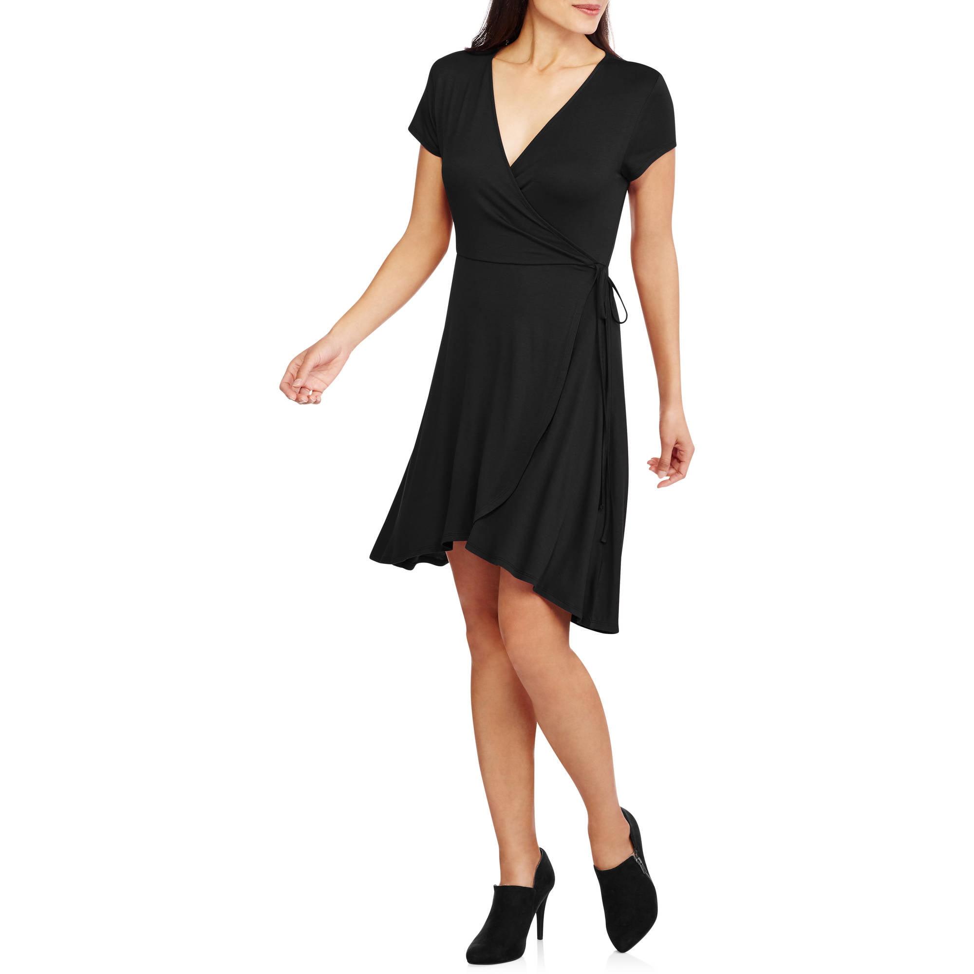 Faded Glory Women's Easy Knit Wrap Dress - Walmart.com