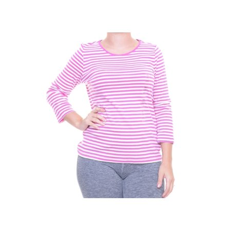 Charter Club Women's Petite Metallic Striped 3/4 Sleeve Top Size PSM (Petite Striped Button Detail Top)