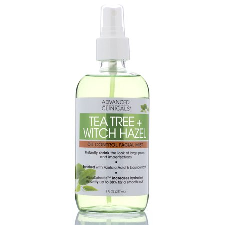 Tea Tree + Witch Hazel Oil Control, Skin Refreshing, Hydrating Face Mist Spray , Non-Greasy Facial mist with Tea Tree Oil to Minimize the Look of Skins Imperfections by Advanced Clinicals, 8