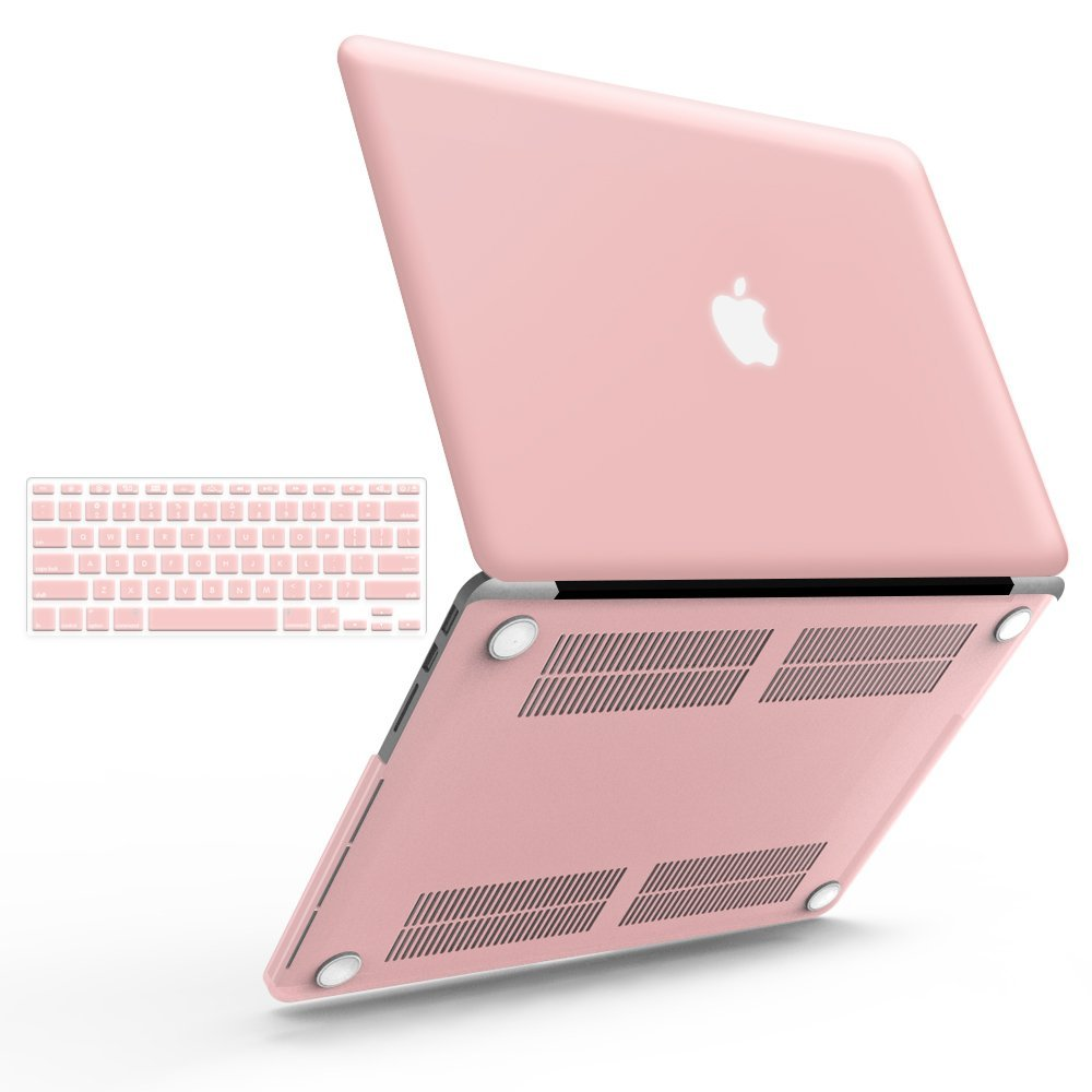 """iBenzer Basic Soft-Touch Series Plastic Hard Case & Keyboard Cover for Apple MacBook Pro 13-inch 13"""" with Retina Display A1425/1502 (Previous Generation) (Rose Quartz)"""