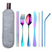 8Pcs/Set Reusable Stainless Steel Dinnerware Set With Straw and Cleaning Brush For Travel Picnic Free Felt Storage Bag