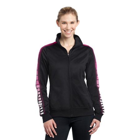 Sport-Tek® Ladies Dot Sublimation Tricot Track Jacket. Lst93 Black/ Pink - image 1 of 1