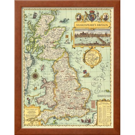 1964 Shakespeares Britain Map Framed Print Wall Art By National ...