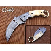 "7.5"" long Folding Kukri Knife with finger hole, Hand forged Damascus steel 3.5"" blade. Available in White, Green & Blue scale with Bolster, Cow hide Leather sheath"