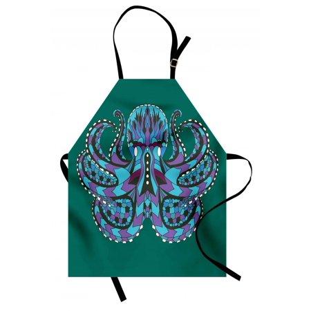 Kraken Apron Zentangle Stylized Ethnic Legendary Animal Totem Vintage Hippie Image Art, Unisex Kitchen Bib Apron with Adjustable Neck for Cooking Baking Gardening, Petrol Blue Mauve, by Ambesonne