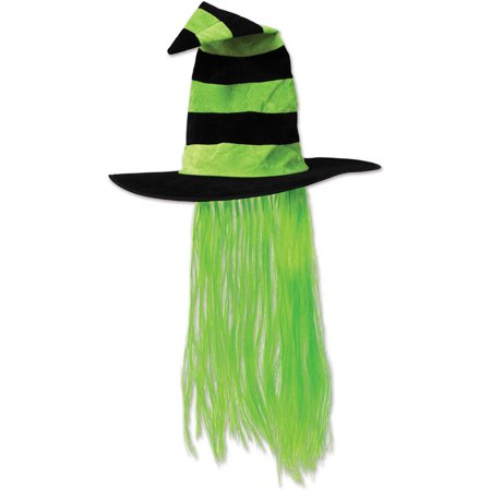 Witch Hat w/Hair (Pack of 6) - Witch Hair