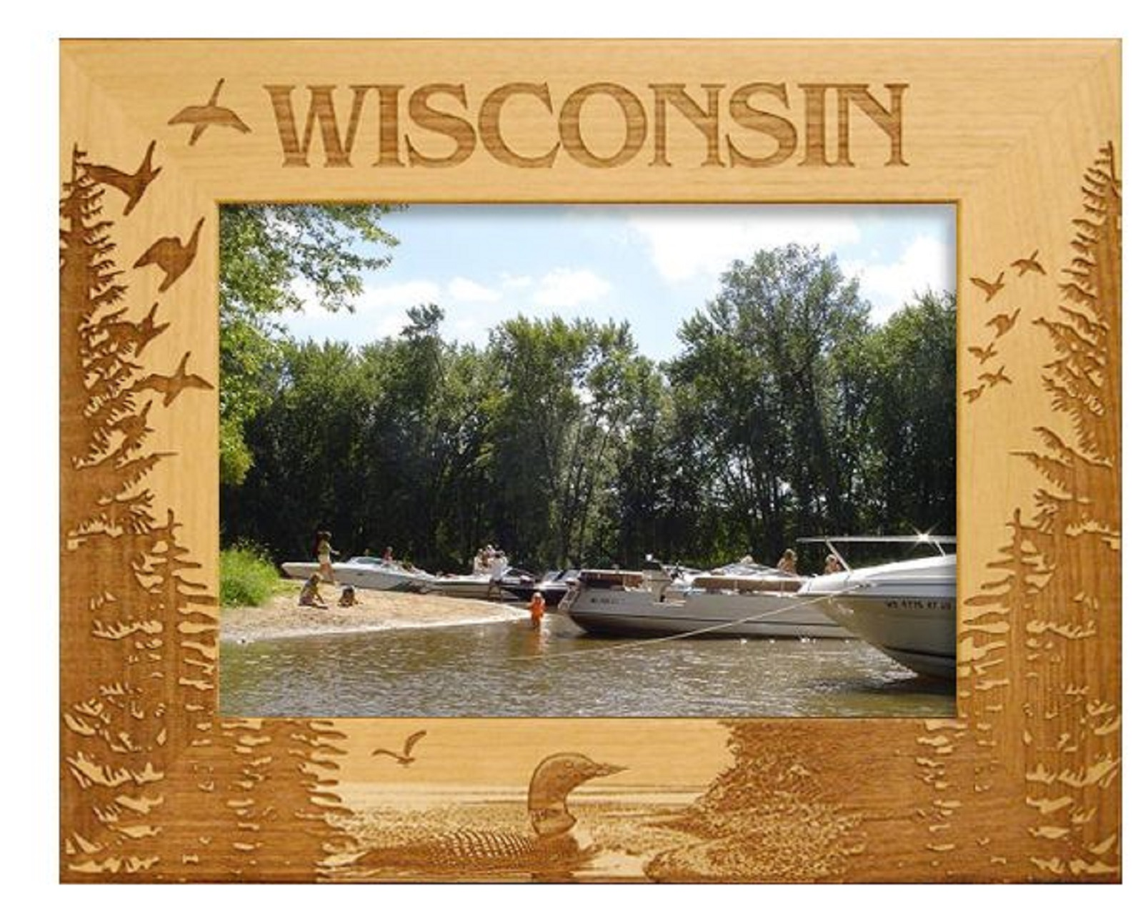 Wisconsin With Loon Laser Engraved Wood Picture Frame 5 X