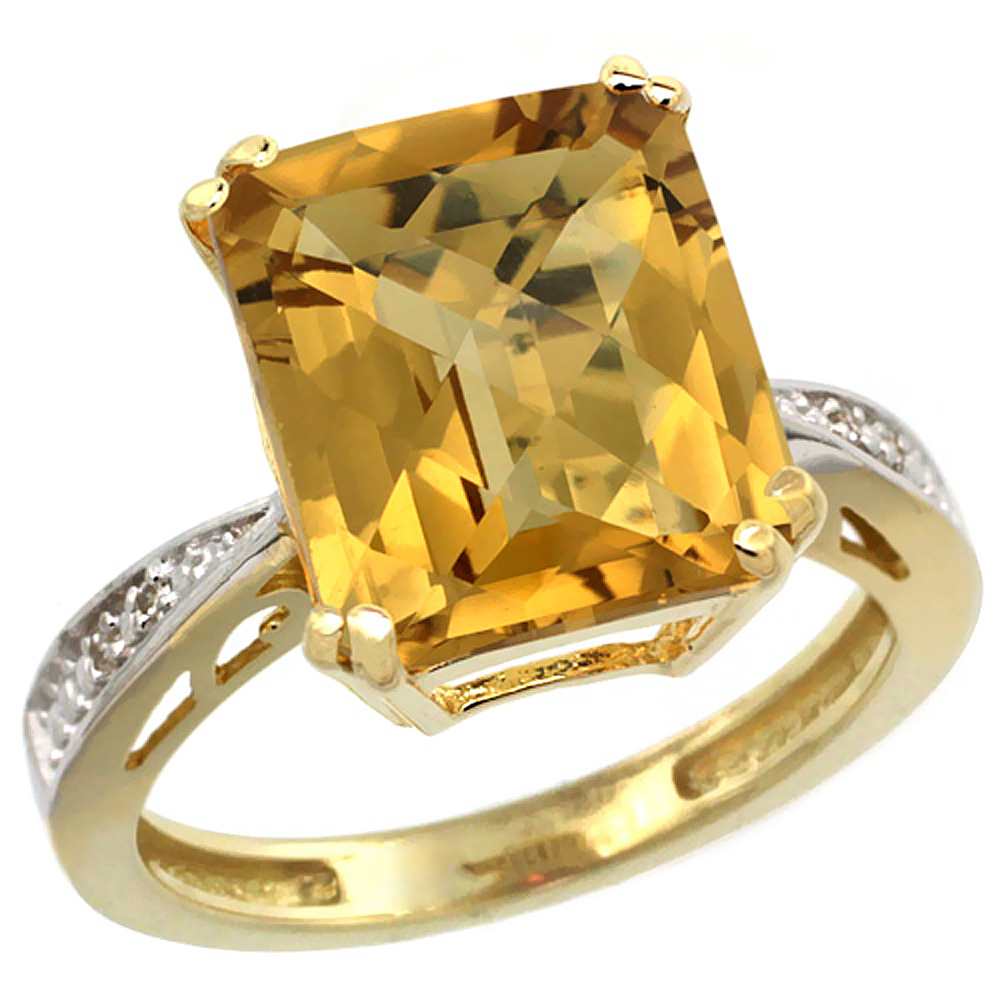 14K Yellow Gold Diamond Natural Whisky Quartz Ring Emerald-cut 12x10mm, sizes 5-10