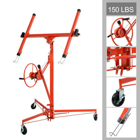 Costway 11' Drywall Lift Panel Hoist Dry Wall Jack Rolling Caster Lifter Lockable ()