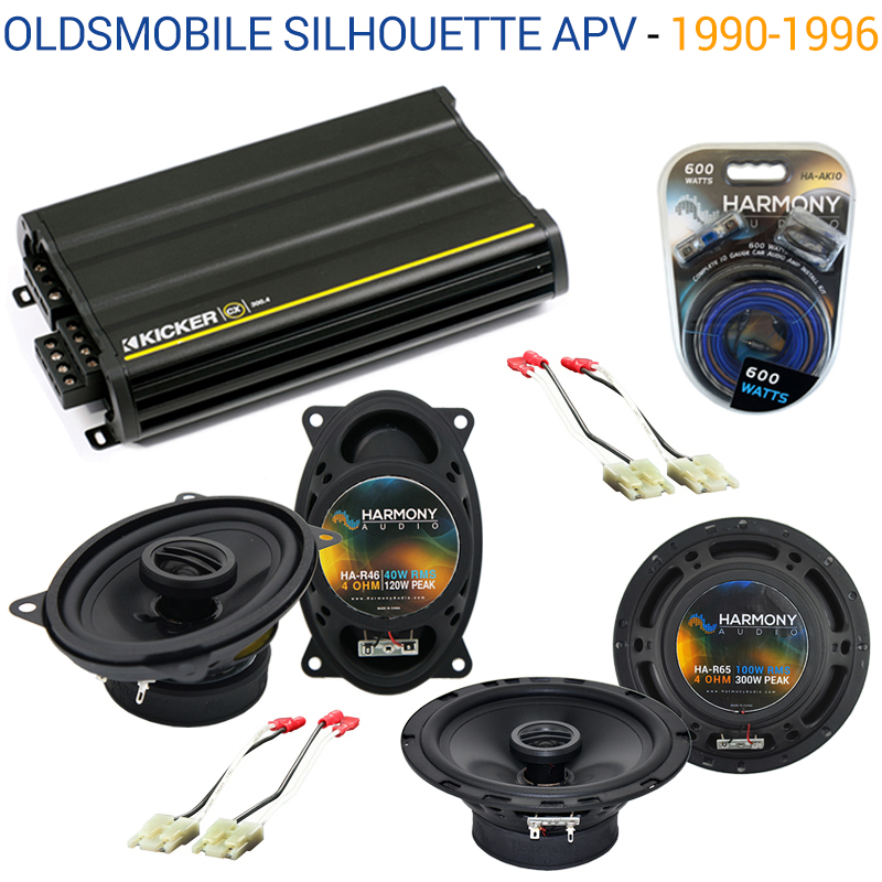 Oldsmobile Silhouette APV 1990-1996 OEM Speaker Upgrade Harmony & CX300.4 Amp - Factory Certified Refurbished