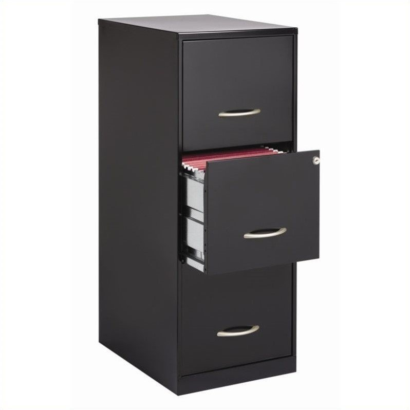 Lorell 3 Drawers Vertical Steel Lockable Filing Cabinet, Black