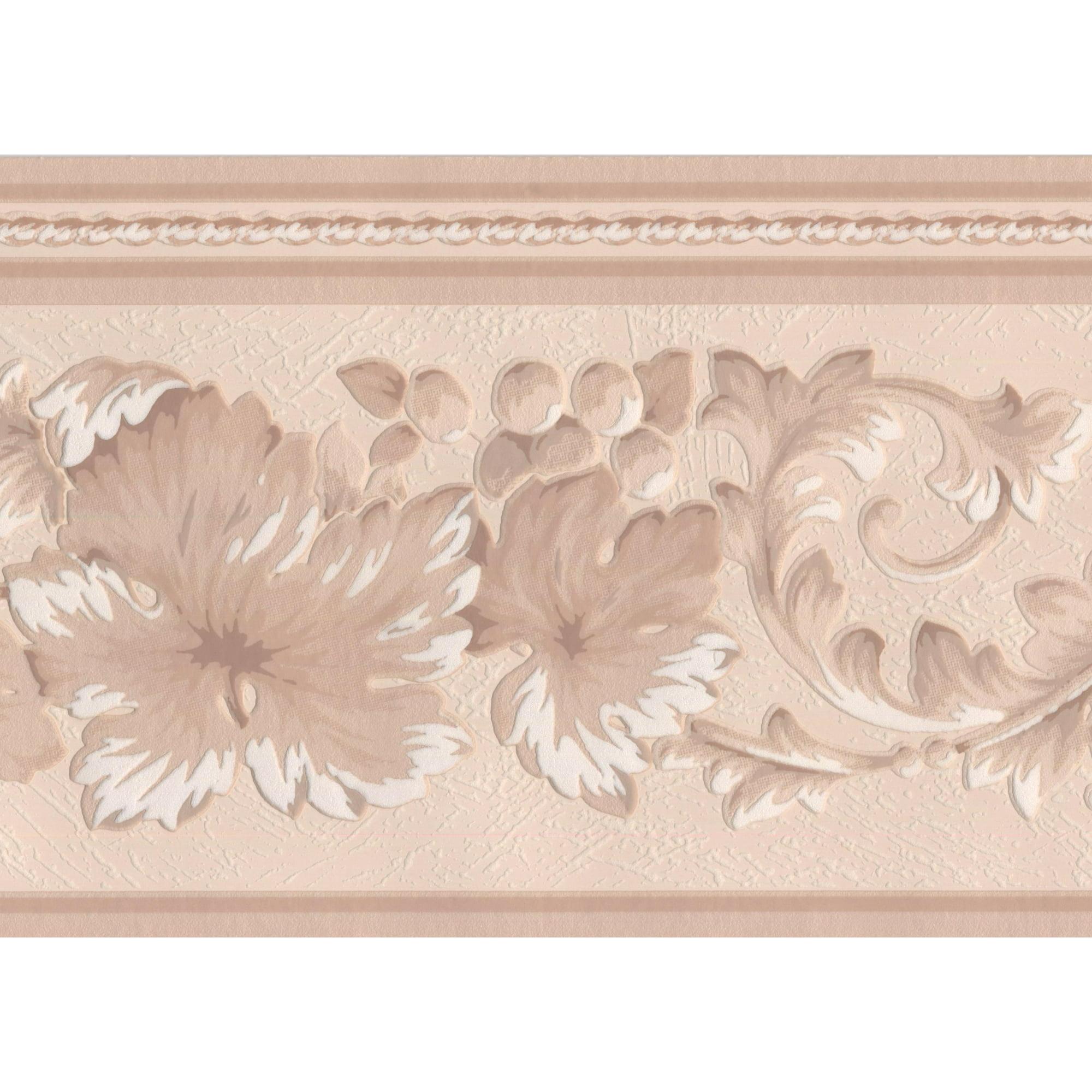 Beige White Lace Floral Wallpaper Border Retro Design Roll 15 X 7