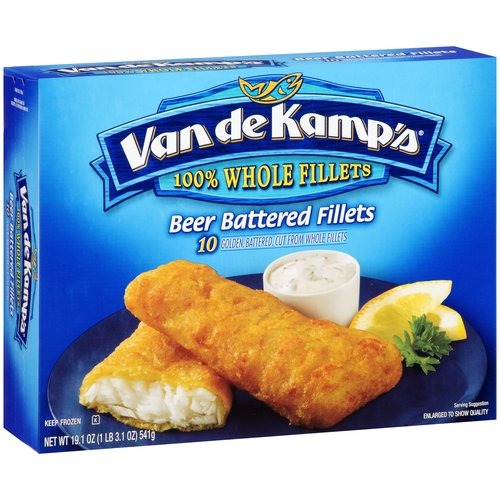 Van De Kamps Beer Battered Golden Whole Fish Fillets, 10 Ct