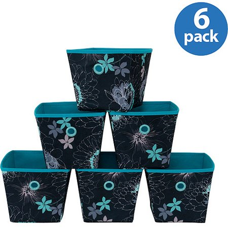 Mainstays Mini Bins Floral Print With Teal Grommets Set