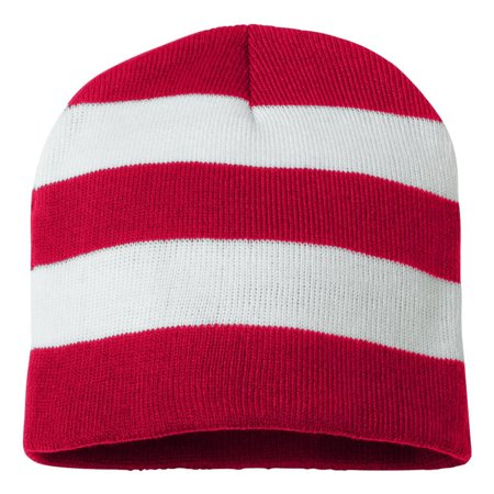Couver - Knit Winter Rugby Striped Beanie Hats for Men   Women - Stay Warm    Stylish (Red  White) - Walmart.com 4b35f9211d6
