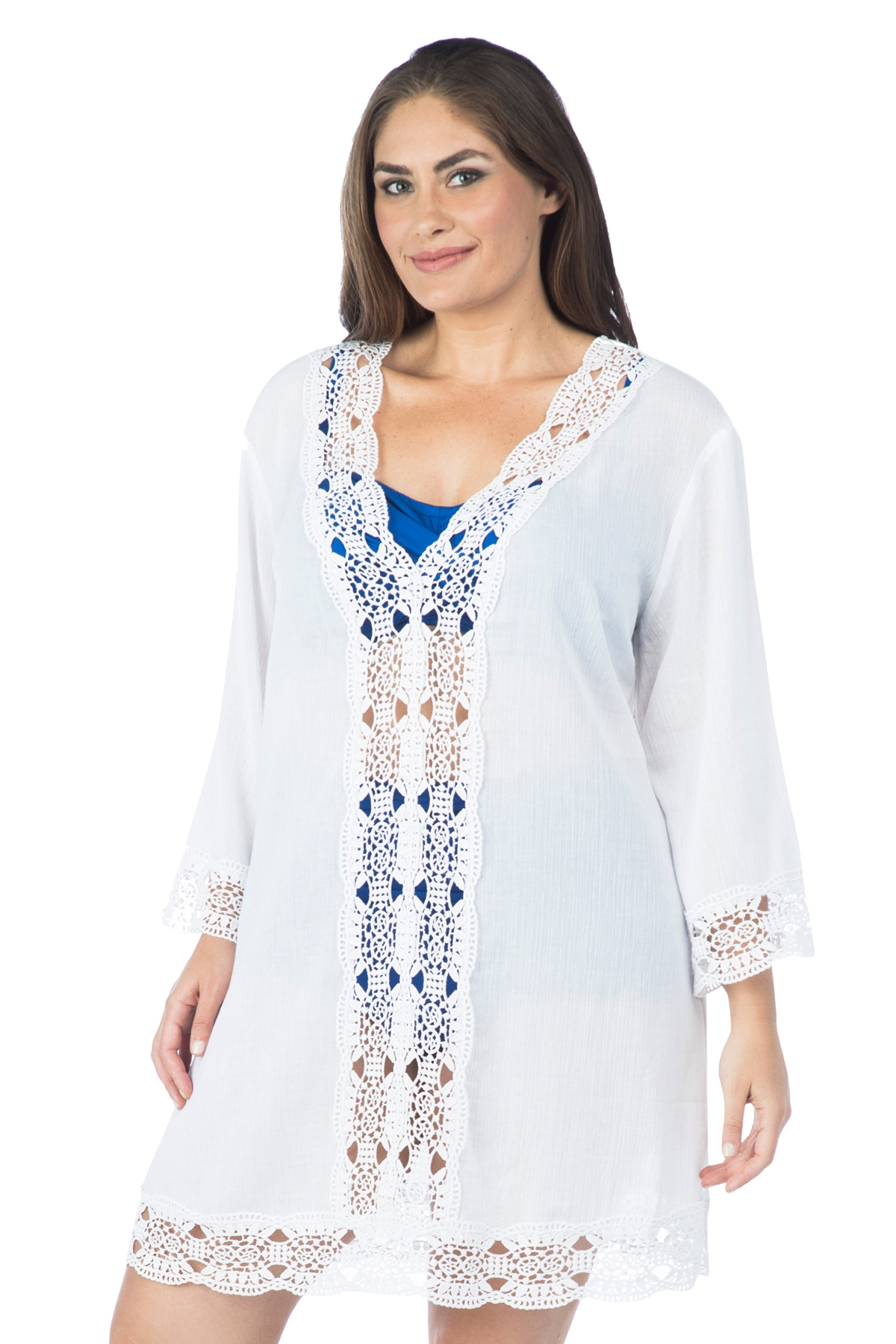 021fe52cfc La Blanca Women's Plus Size Island Fare V Neck Tunic Swim Cover Up