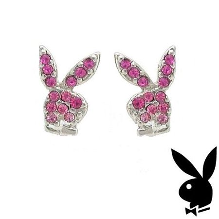 Playboy Earrings Bunny Logo Studs Pink Swarovski Crystals Platinum Plated RARE - Playboy Bunny Accessories