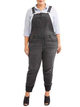 A3 Denim Women's Plus Size Wide Cuffed Stretch Denim Overall
