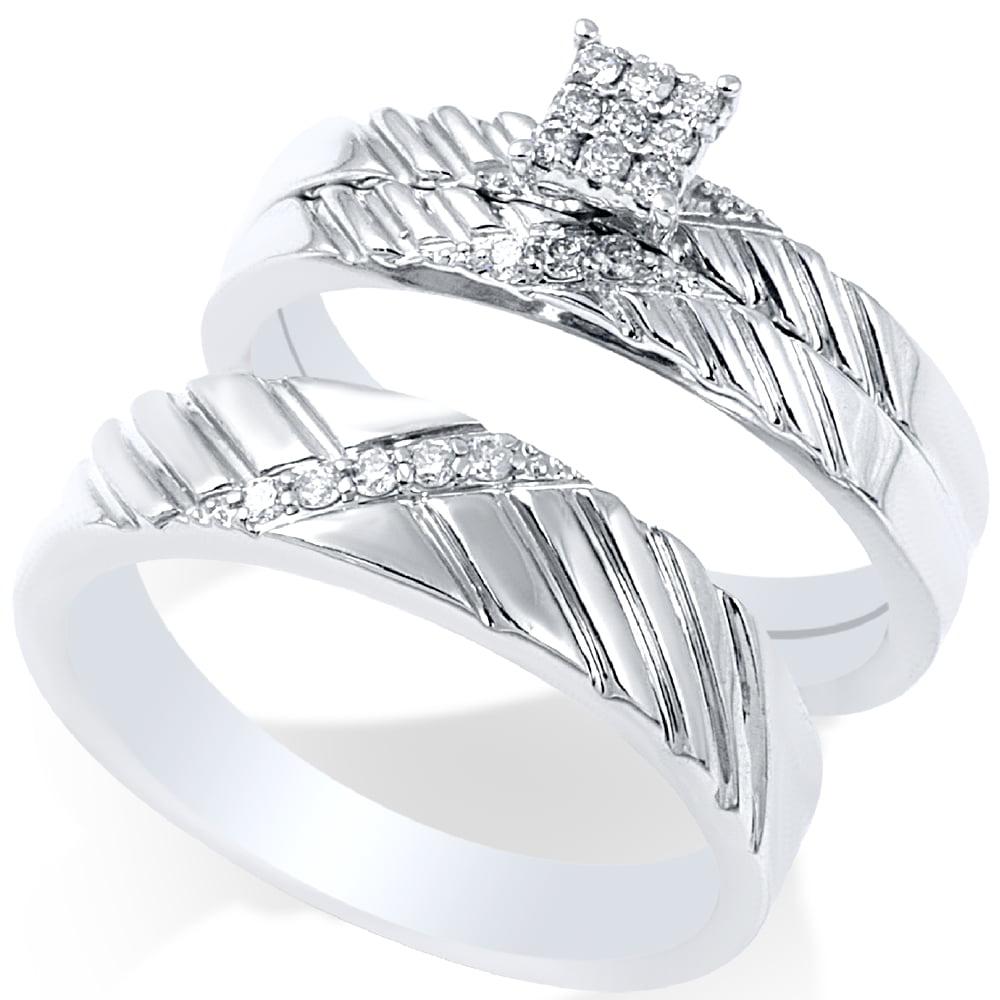 1 4ct Diamond Engagement Matching Wedding Ring Set 14K White Gold by Pompeii3