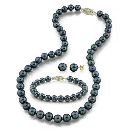 14K Gold 7.0-7.5mm Black Akoya Cultured Pearl Necklace, Bracelet & Earrings Set, 17