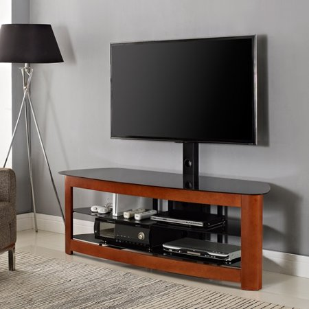 Cherry Wood TV Stand With Mount For TVs Up To 65