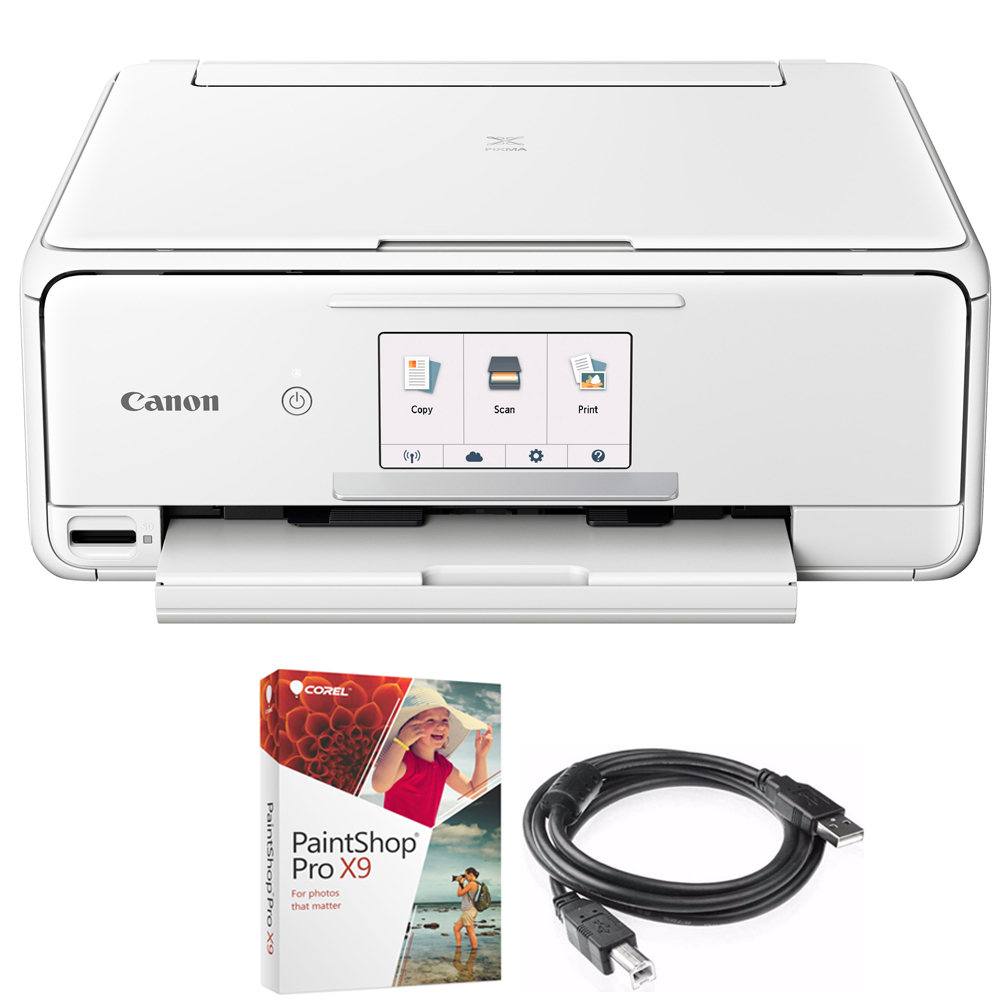 Canon PIXMA TS8120 Wireless Inkjet All-in-One Printer with Scanner & Copier White (2230C022) Corel Paint Shop Pro X9 Digital Download & High Speed 6-foot USB Printer Cable